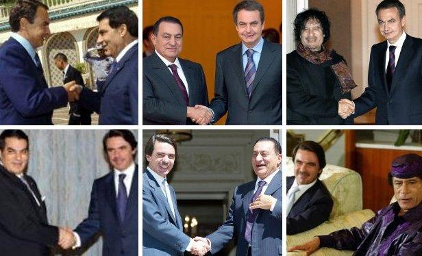 Zapatero y Aznar, con Ben Alí (Túnez), Mubarak (Egipto) y Gadafi (Libia).