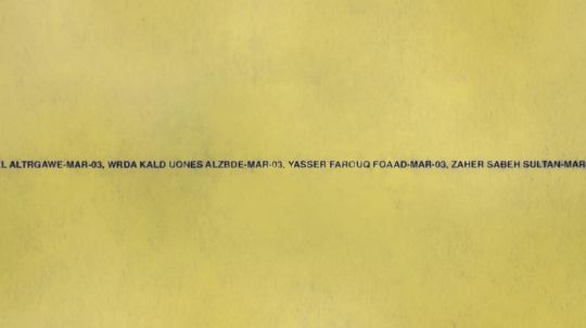Nombres de civiles fallecidos en Irak, microimpresos en un cuaderno de notas. Foto: SWAMP
