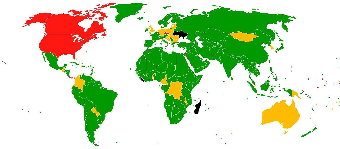 Resultado de la votación de la Asamblea General de la ONU para el reconocimiento de Palestina como Estado observador no miembro de las Naciones Unidas, realizada el 29 de noviembre de 2012. En color verde: a favor (138); en rojo: en contra (9: Israel, Estados Unidos, Canadá, República Checa, Panamá, Palaos, Micronesia y las Islas Marshall); en amarillo: abstención (41); en negro: ausentes (5). Pinchar en la imagen para ampliarla. Mapa: recortesdeorientemedio.com