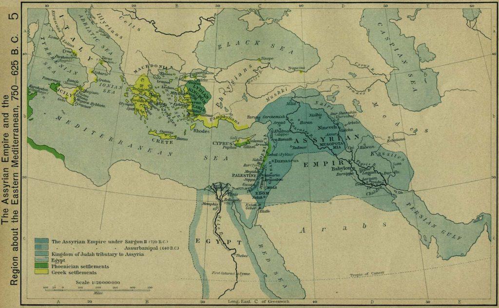 Imperio Asirio y Mediterráneo Oriental, 750-625 a.C.
