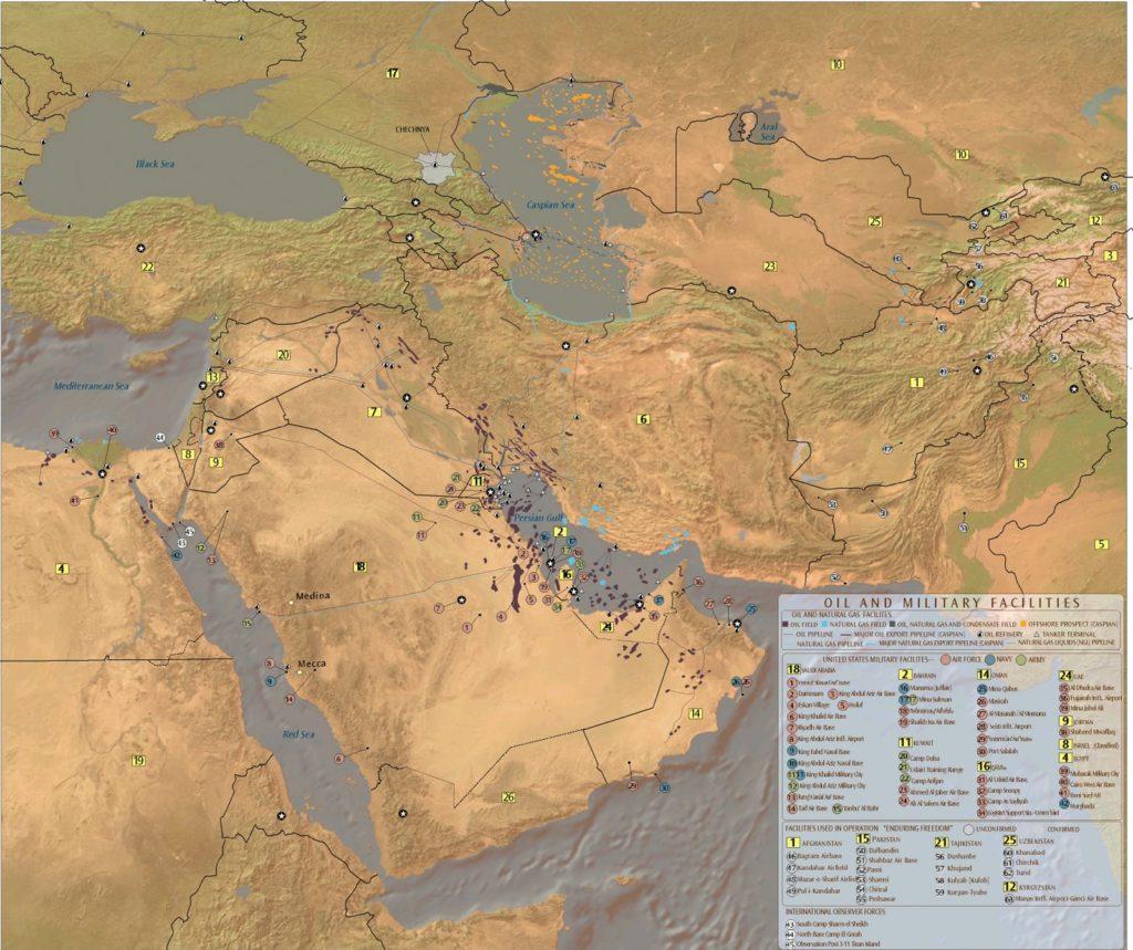 Petróleo, gas e instalaciones militares en Oriente Medio