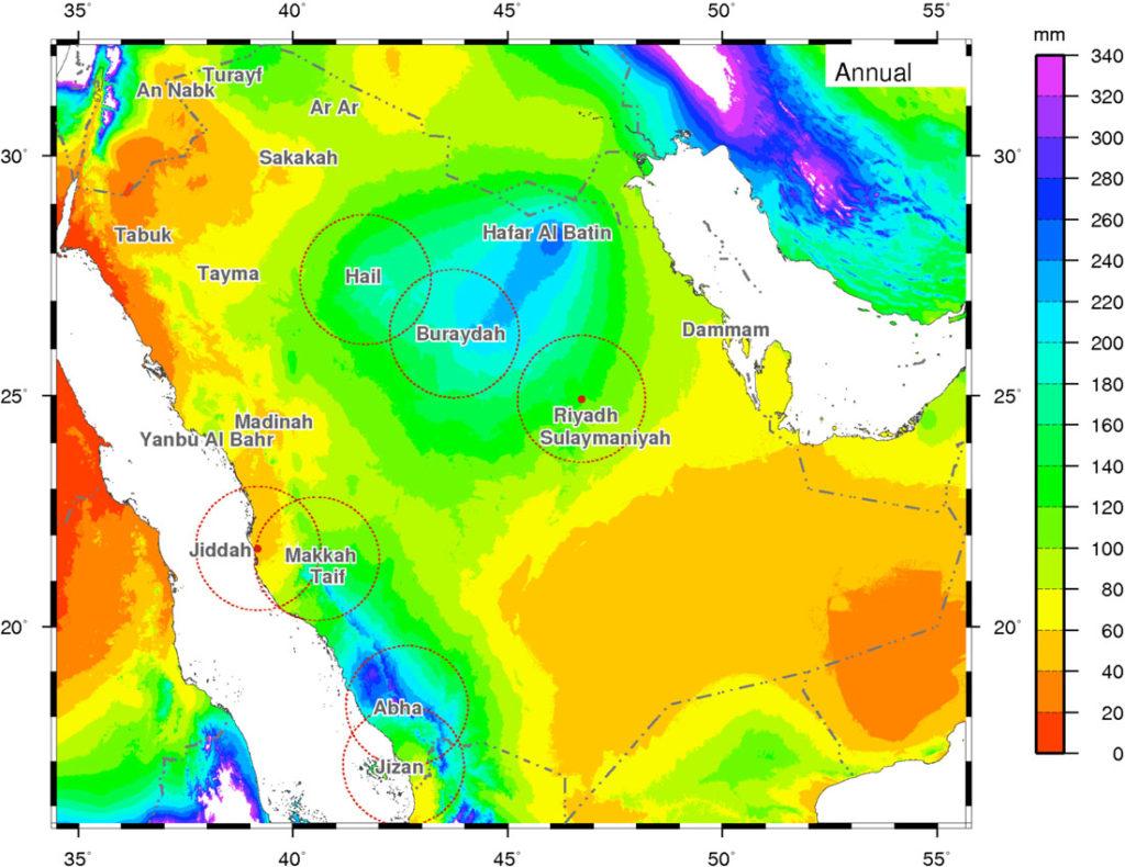 Precipitaciones en Arabia Saudí
