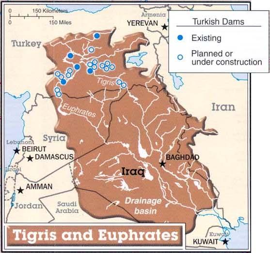 Presas turcas en el Tigris y el Eufrates