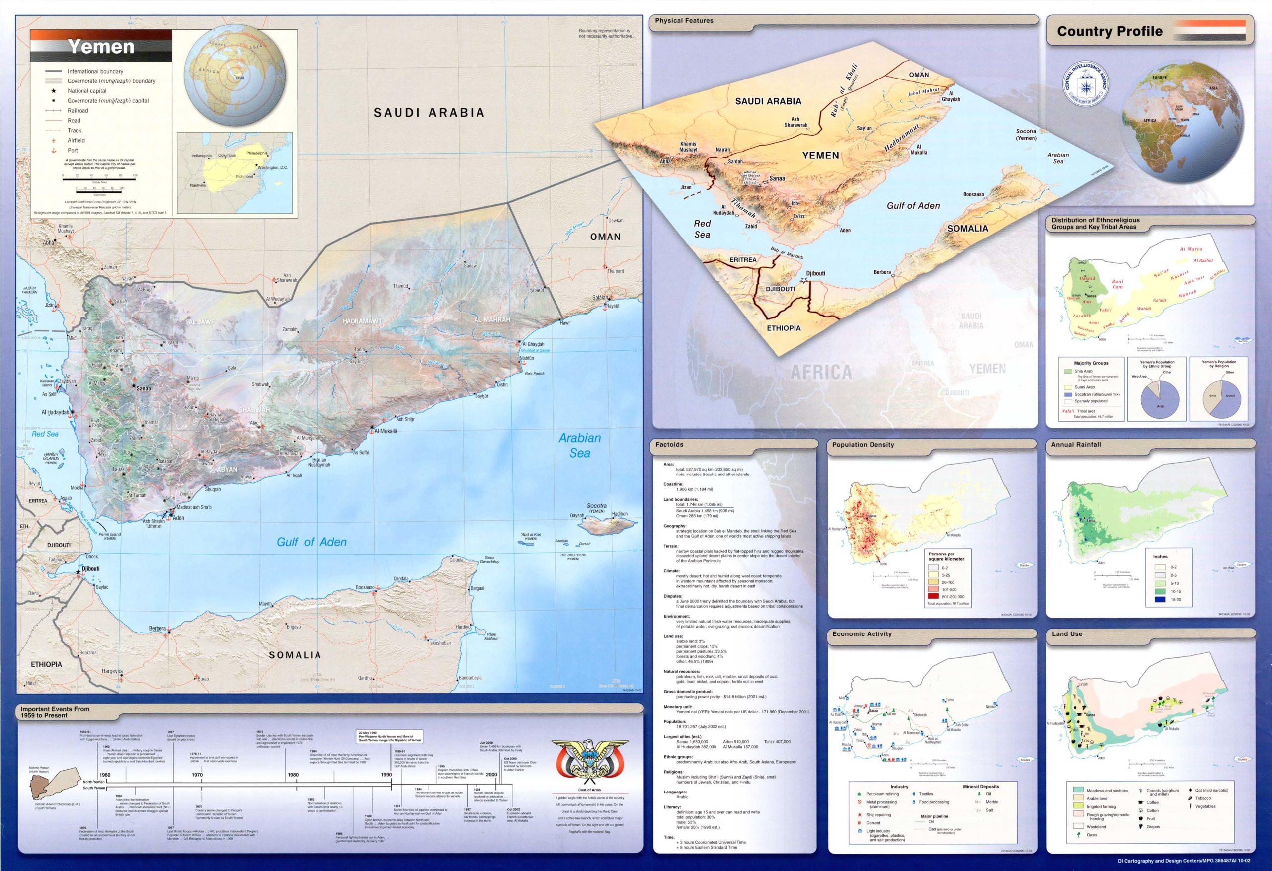 Ficha de Yemen. CIA, 2002
