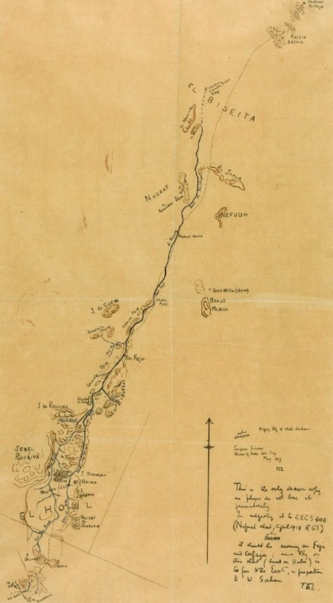 'Hejaz Railway to Wadi Sirhan'. Mapa trazado por T.E. Lawrence en el que se muestra su campaña militar de 1917. Sotheby's