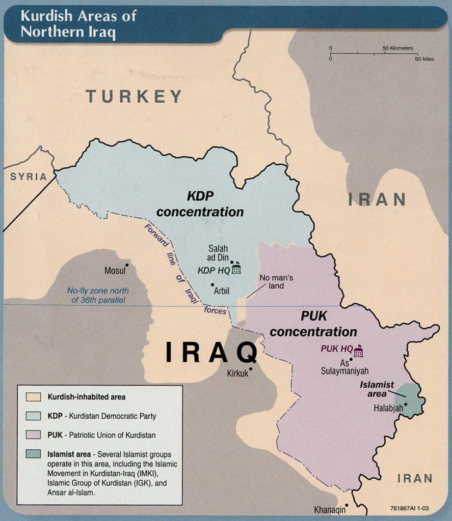 Áreas kurdas en el norte de Irak